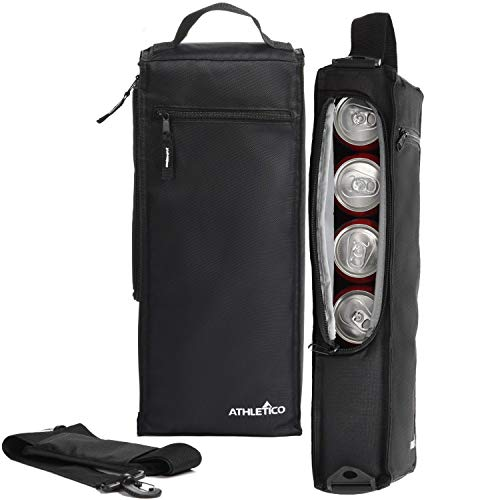Athletico Golf Cooler Bag - Soft Sided Insulated Cooler Holds a 6 Pack of Cans or Two Wine Bottles (Black) (Golf Bag With Built In Cooler)