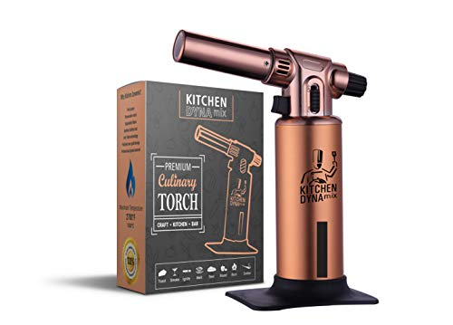 PREMIUM Kitchen Torch/Creme brulee torch. Durable w/Fuel Gauge. 2700F MAX Temp. For Cooking, Bar, Baking, Creme brulee & Crafts.(Rose Gold) Kitchen Dynamix ()