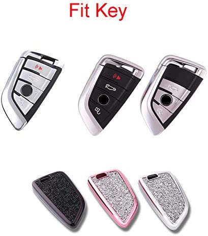 TM Luxury 3 4 Buttons Girly 3D Bling Smart keyless Remote Key Fob case Cover for BMW 1 2 3 5 7 M Series,BMW X1 X3 X4 M2 M3 M4 M5 Model b-Pink Royalfox