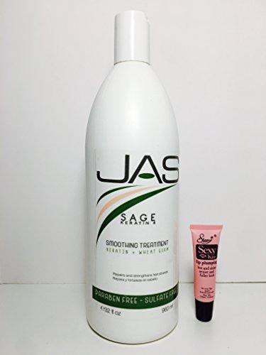 JAS Plus Sage Keratin 4 Smoothing Treatment Keratin + Wheat Germ 32 Oz -Free Starry Sexy Lip Plumping Gloss 10ml