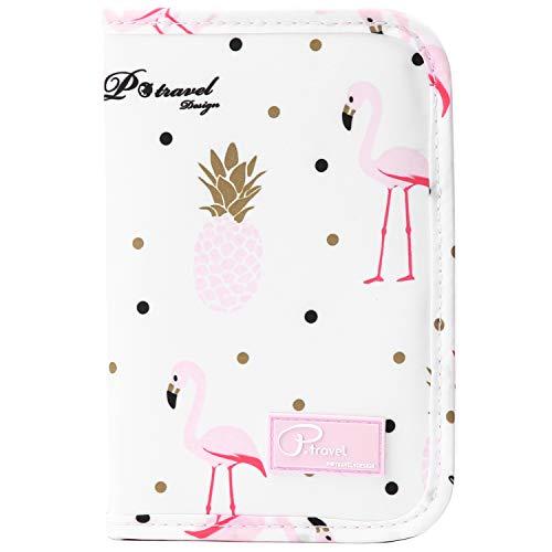 VanFn Travel Passport Wallet, Passport Holder For Family, P.Travel Series (Pink Flamingo)