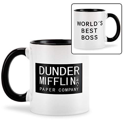 Coffee Mug With Dunder Mifflin, World's Best Boss-11 oz Funny Ceramic Mugs Coffee Cup Novelty Gift Present Idea for Male Female Bosses Coworkers Men Man (World's Best Boss Mug The Office)