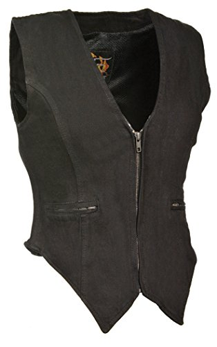 Milwaukee Women's Zippered Denim Vest (Black, XXX-Large)