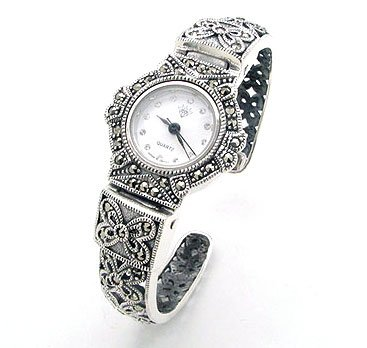 Vintage Deco Style Genuine Marcasite Set Hinged Sterling Silver Cuff Watch Bracelet (Bracelet Watch Silver Sterling Cuff)