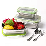 Stainless Steel Bento Lunch Box with Lids aammaxs Food Containers - Set of 5 Stainless Steel Leak Proof Meal Prep Containers, Dishwasher Freezer Safe and BPA Free