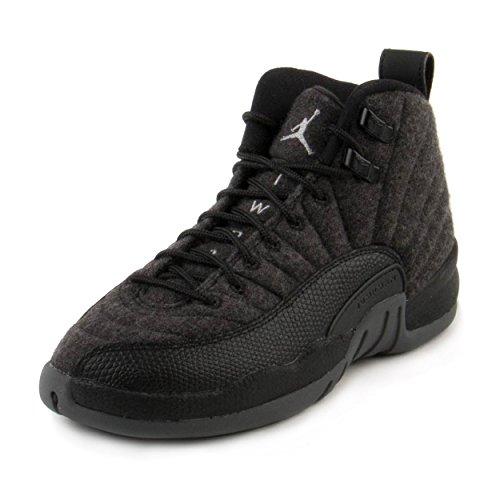 Nike Boys Jordan 12 Retro Wool BG Dark Grey/Silver-Black Wool Size 5.5Y by NIKE