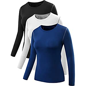 Neleus Women's 3 Pack Dry Fit Athletic Compression Long Sleeve T Shirt,Black,Blue,White,Small