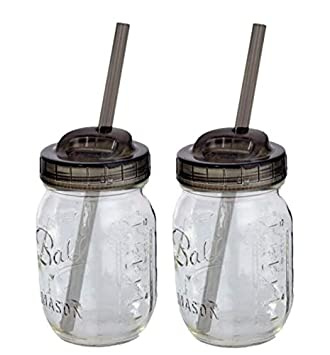 2 Ball Glass Mason Drinking Jars with 2 Sip and Straw Lids (2, 16oz) Regular Mouth