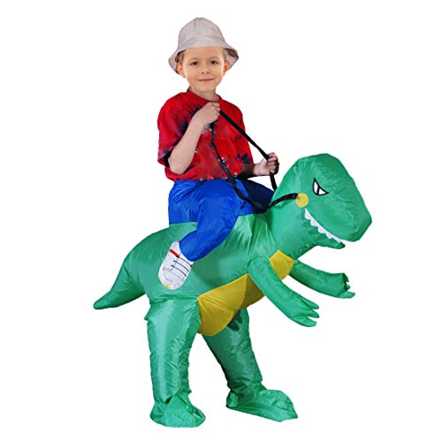 Inflatable Dinosaur Riding T-REX Costume Halloween Costume for Child Inflatable Dinosaur Cosplay (Child)