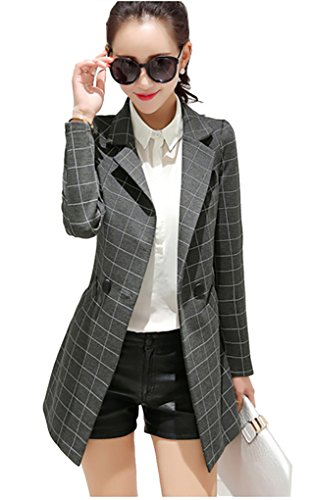 My Wonderful World Gray Slim Long Suit Plaid Leisure Blazers Office Jacket for Womens Juniors US 4