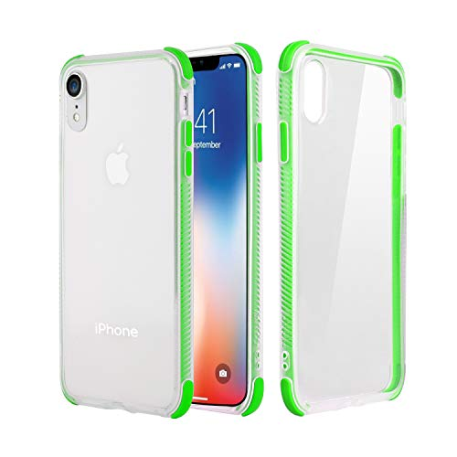 YYhappy iPhone XR case,Hybrid Drop Protection Flexible TPU Back Soft TPE Shockproof iPhone case with Air farme Bumper for Clear iPhone XR (Green)