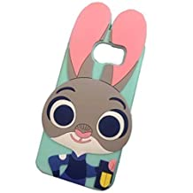 Galaxy S6 Edge Case,S6 Edge Silicone Case,Anya 3D Cute Cartoon Silicon Gel Soft Rubber Back Case Skin Cover for Samsung Galaxy S6 Edge G9250 Utopia Animals Zootopia Smart Lovely Rabbit Judy Mint Green