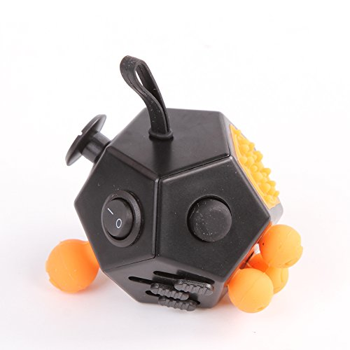 Xinzistar 2 Pcs Fidget Dice II Dice I Stress Release Office Toys Set for Children Adult Black 03 - 2