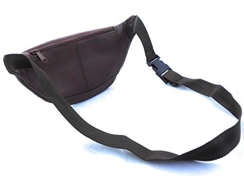 Zerimar Riñonera de piel auténtica con múltiples bolsillos Medidas: 11x27x4 cms Tan
