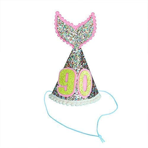 (GrantParty Mermaid Tail Party Hats Gold Glitter Sparkle Princess Cone Hat for 90th Birthday Party Decoration(Pink))