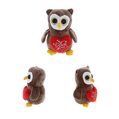 DolliBu Big Eye Owl I Love You Message Stuffed Animal 6 Inch, for Boyfriend or Girlfriend, Cute Teddy Bear with Heart Plush Toy for Friend, Romantic Anniversary or Valentine Gift: Toys & Games