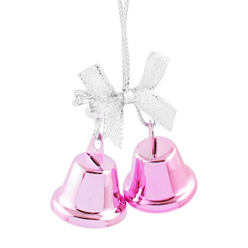 DealMux Christmas Tree Bow Detail Ring Bell Dangling Ornament Decor 27mm Dia Pink - Dangling Bow