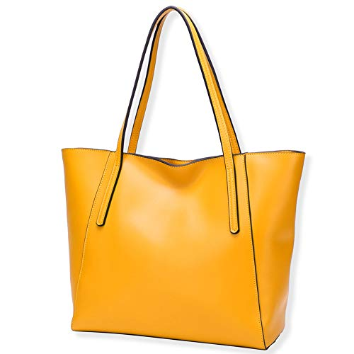- CHERRY CHICK Women's Genuine Leather Oversize Purse Big Capacity Tote Shoulder Bag (Mango-9816)