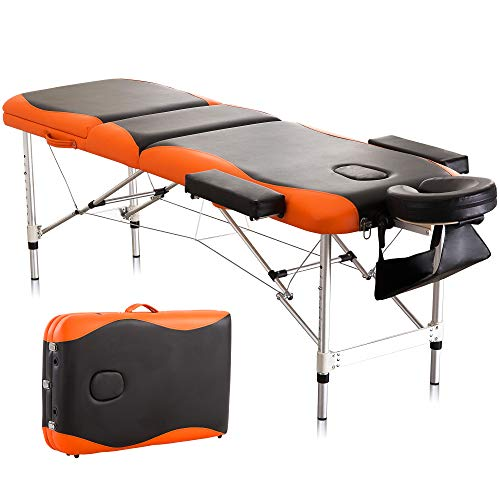 Massage Table Spa Bed Height Adjustable 3 Section Aluminum Salon Bed with Carry Bag, Black Red