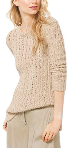 Michael Michael Kors Cotton Boatneck Sweater Pullover, Sand - Boatneck Cotton Sweater