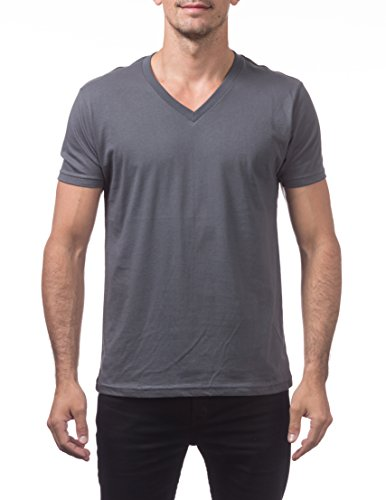 Men Comfortable Cotton Shirt (Pro Club Men's Lightweight Ringspun Cotton Short Sleeve V-Neck T-Shirt, X-Large, Graphite)