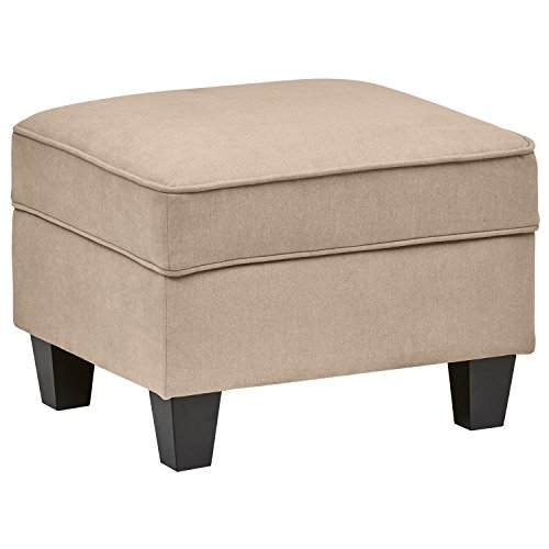 Stone Beam Isabel Traditional Small Storage Ottoman, 24 W, Tan