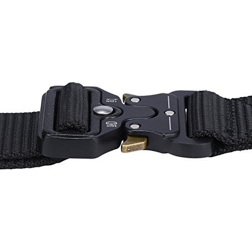 Military Tactical Belt,Quick Release Buckle, Long 43''-55'' Wide1.5'',Heavy Duty Waist Belt (Black, 47 inch) by MarkPorda (Image #2)
