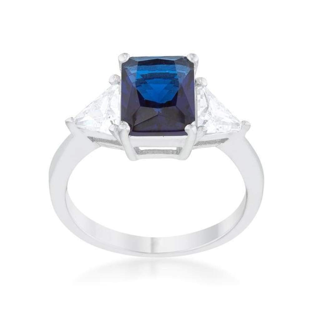 CZ Sparkle Jewelry Classic Sapphire Sterling Silver 3 Stone Emerald Cut and Trillion Cut Sides Engagement Ring JGI