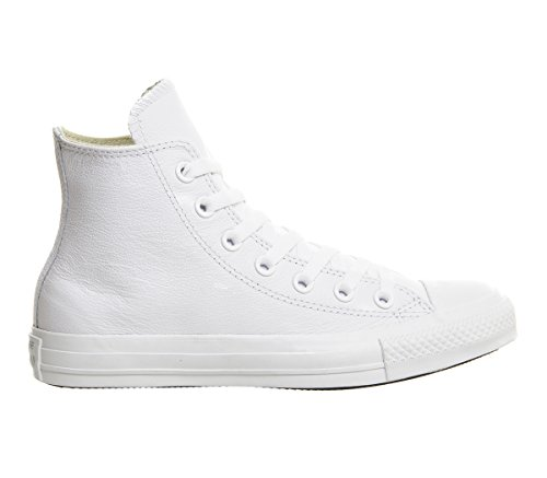(Converse Star Chuck Taylor Leather High Top, Mono White Size 8.5)