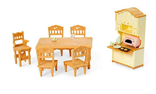 Calico Critters Dining Room Set Bundled with Cuddle Bear Family Doll