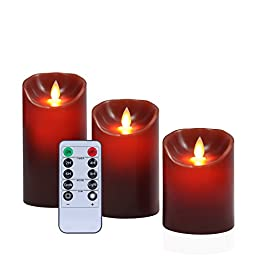 Flickering LED Flameless Candles Set with Remote (3-Piece) Red Real Wax Pillar | Bathroom, Kitchen, Home Décor | 10-Key Control, Battery Powered | Reusable | Multiple Sizes(Red,Oshine)