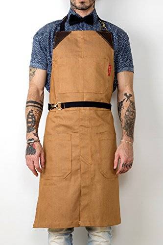 Under NY Sky No-Tie Apron - Khaki Brown Denim - Brown Leather - Towel Loop and Split-Leg (Tie Apron)