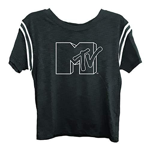 MTV Ladies Short Sleeve Shirt - #TBT Ladies 1980's Clothing - I Want My Logo Slub Stripe Short Sleeve Tee (Black, Small)