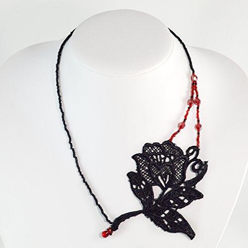 [Gothic Rose Necklace Goth Black Lace Jewelry Statement Collar Black Red Dark Emo Scene Alternative Fashion] (Emo Rocker Costume)