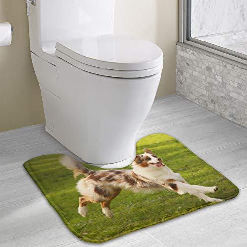 (Angeline E Topp Happy Border Collie Dog Personalized Memory Sponge Bath Mat U-Shaped Bathroom Carpet Non-Slip Absorbent Soft Microfiber Durable)