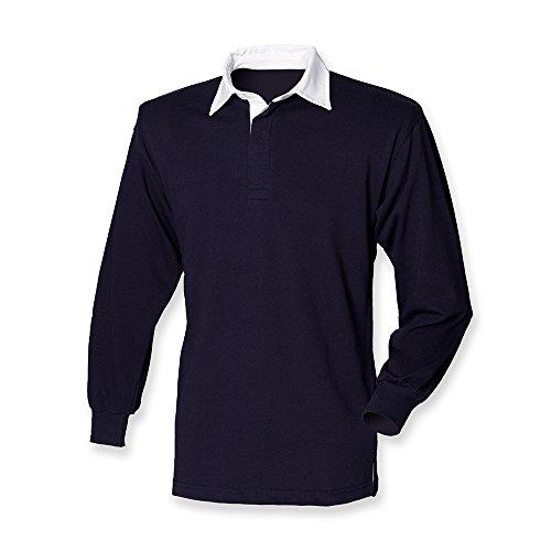 Front Row camiseta de manga larga Classic Rugby camiseta azul marino/blanco S