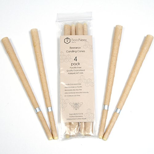 BeezNeez Wax Co. Beeswax Candling Cones 4 Candles - 100% Natural Beeswax - Lower Smoke Cones vs Paraffin Cylinder Candles - Protective Disk Included (1), Removable Drip Free Filter