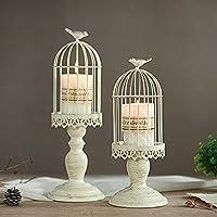 Sziqiqi Portacandele Vintage a Forma di Gabbia per Uccelli, portacandele Decorativo da Tavolo per Matrimonio…