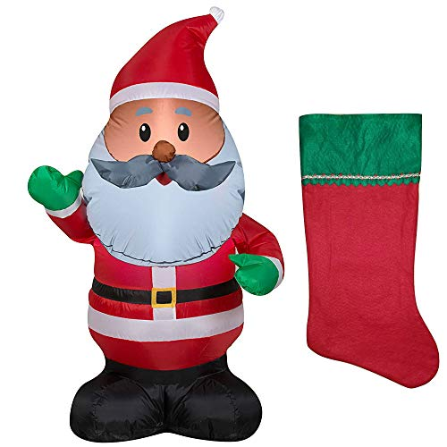 Black Santa Claus Inflatable Decoration 4 ft and Red Felt Christmas Stocking Holiday -