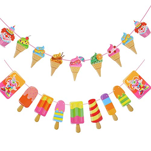 PRETYZOOM 2pcs Ice Cream Banner DIY Paper Garland Decorative Paper Banner for Kids Birthday Party Baby Showers Summer Party Decoration