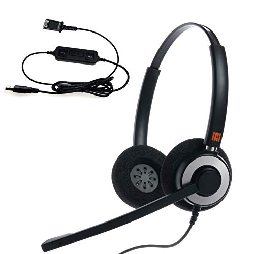 Skype Headset Adapter - IPD IPH-165 Binaural NC Headset with USB Adapter Cable to PC with Mute Switch and Volume Controller for Softphones; Skype, Skype for Business Compatible, Office 365,Avaya and Cisco Jabber etc
