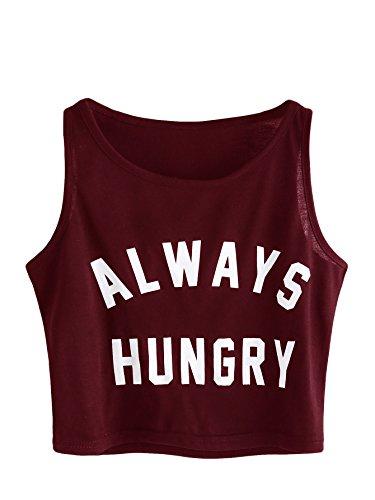 SweatyRocks Women's Summer Sleeveless Letter Print Casual Crop Tank Top Shirts Burgundy L - Chip Maroon