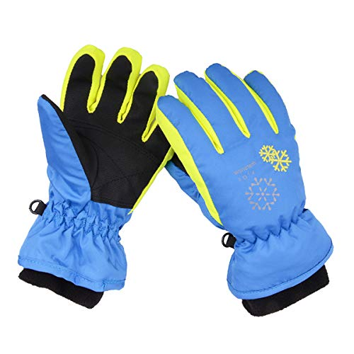 YAPJEB Kids Ski Gloves, Snow Gloves Windproof Waterproof Winter Gloves for Snowboarding Biking (Blue, S) (Clothes Skating Ice Boys)