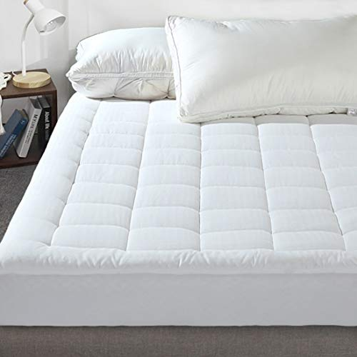 Queen Quilted Mattress Pad, Pillow Top Fitted Mattress Cover Pad Down Alternative Fill (8-21″ Fitted Deep Pocket) Mattress Topper Hypoallergenic Cooling Mattress Protector