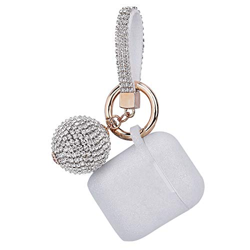 Apple Airpods Case Keychain, Filoto Airpods Silicone Glittery Case, Scratch Proof and Drop Proof Air Pods Protective Cover Skin with Shiny Ball Key Chain (Silver)