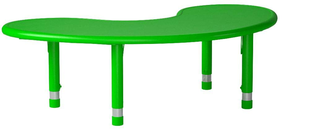 Flash Furniture 35 x 65 Height Adjustable Half-Moon Green Plastic Activity Table by Flash Furniture