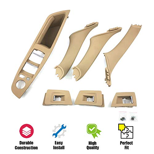 USTAR Window Switch Armrest Panel, Inner Door Pull Handle Kits for 2010 2011 2012 2013 2014 2015 2016 BMW 5 Series 520 523 525 528 530 535 F10 F11 Beige