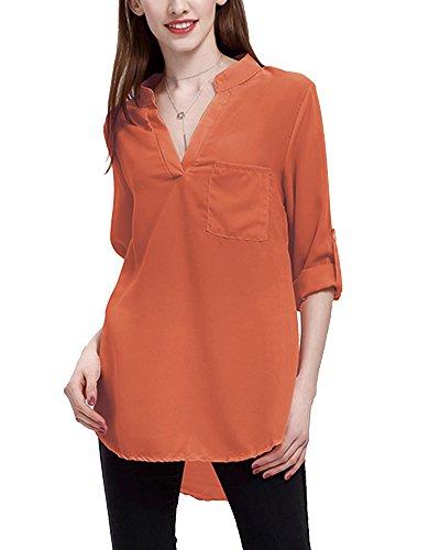 Forti Rosso Mattone Elegante T 4 Donna Camicia V Shirt Maglietta Lunga Camicetta Collo Manica Taglie 3 Tops Rp6wqa