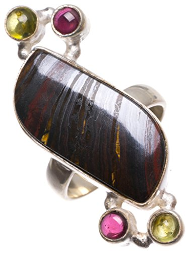 (Natural Hematite,Amethyst and Prehnite Handmade Indian 925 Sterling Silver Ring, Size 7.5 U1882)
