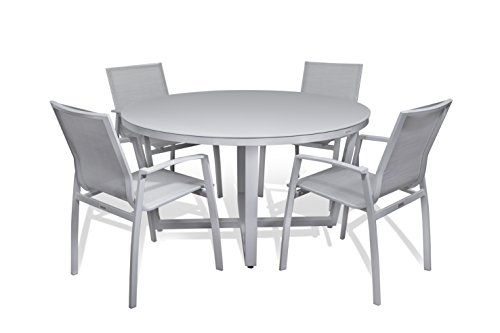 Outdoor Patio Furniture New Aluminum Gray Frosted Glass 5